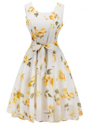 Affordable Chiffon Floral Knee Length Belted Flare Dress WHITE L