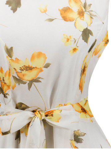 Shop Chiffon Floral Knee Length Belted Flare Dress - M WHITE Mobile