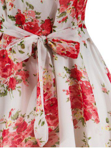 Outfit Knee Length Floral Belted Flare Dress - M WHITE Mobile