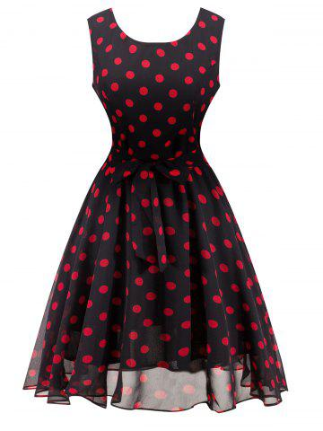Latest Retro Belted High Waisted Polka Dot Dress BLACK L