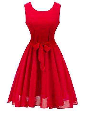 Retro Sleeveless Belted High Waisted Dress - RED M