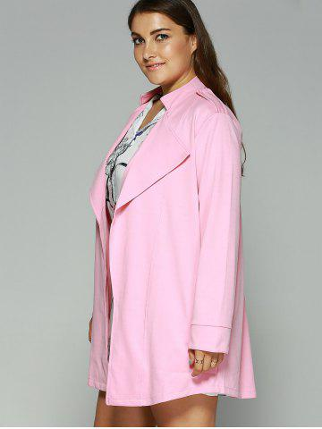 Chic Loose-Fitting  Turn-Down Collar Coat - 5XL PINK Mobile