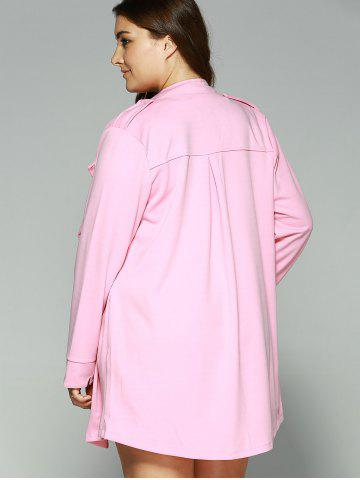 Hot Loose-Fitting  Turn-Down Collar Coat - 3XL PINK Mobile
