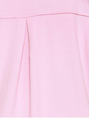 Best Loose-Fitting  Turn-Down Collar Coat - 3XL PINK Mobile