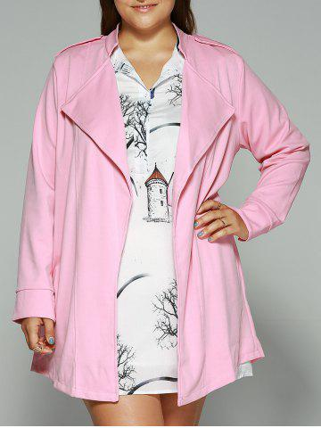 Hot Loose-Fitting  Turn-Down Collar Coat - L PINK Mobile