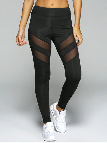 Outfits See-Through Tight Sport Running Leggings BLACK S