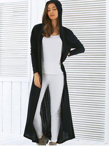 Sale Hooded Maxi Long Duster Cardigan - L BLACK Mobile