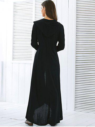 Discount Hooded Maxi Long Duster Cardigan - L BLACK Mobile