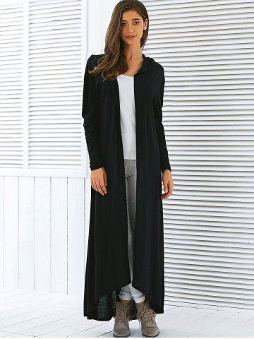Chic Hooded Maxi Long Duster Cardigan - L BLACK Mobile