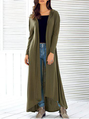 Hooded Maxi Long Duster Cardigan - Army Green - L