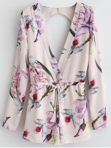 Cheap Floral Print Long Sleeve Cut Out Romper PINK S
