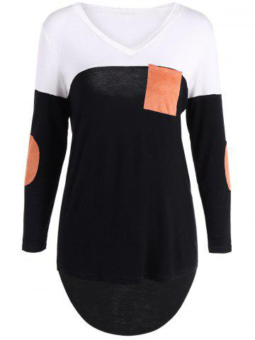 Patchy Sleeve High Low Hem T-Shirt