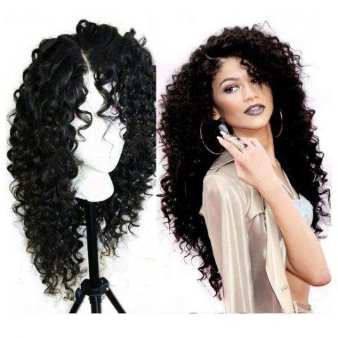 Fancy Long Curly Side Parting Lace Front Synthetic Wig - BLACK  Mobile