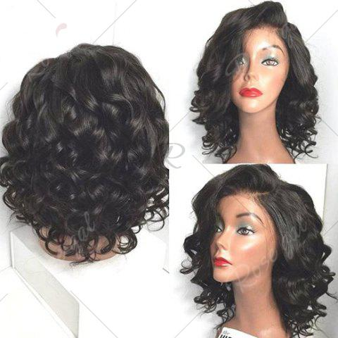 Outfits Short Wavy Side Parting Lace Front High Temperature Fiber Wig - BLACK  Mobile