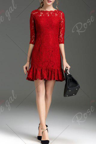 Best Hollow Out Ruffle Hem Lace Dress - XL RED Mobile