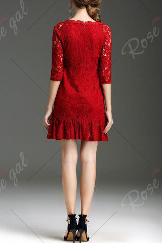 Trendy Hollow Out Ruffle Hem Lace Dress - XL RED Mobile