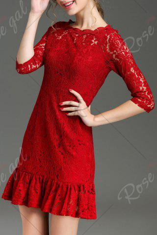 Buy Hollow Out Ruffle Hem Lace Dress - XL RED Mobile