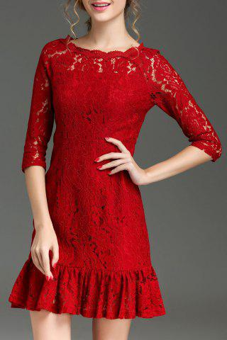 New Hollow Out Ruffle Hem Lace Dress - XL RED Mobile