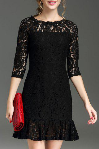 Discount Hollow Out Ruffle Hem Lace Dress BLACK XL