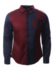Color Block Splicing Design Turn-Down Collar Long Sleeve Shirt - BLUE AND RED XL
