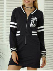 Letter Applique Zipper Sweatshirt Dress -