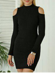 Cold Shoulder Mini Fitted Sweater Dress