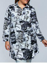 Plus Size Ink Painting Long Sleeve Button Down Dress -