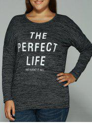 Long Sleeves Heathered Graphic T-Shirt - BLACK 5XL