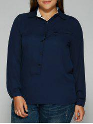 Buttoned Pocket Design Chiffon Shirt
