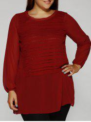 Striped Patchwork Chiffon Blouse - WINE RED 5XL