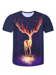 3D Elk Starry Sky Single Sided Print Round Neck Short Sleeves T-Shirt For Men