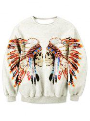 Crew Neck Tribal Skull Printed Sweatshirt - OFF WHITE 2XL