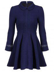 Elegant Peter Pan Collar Lace Spliced Fit and Flare Dress