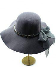 Keep Warm Wool Bowknot широкими полями Hat Fedora - Глубокий серый
