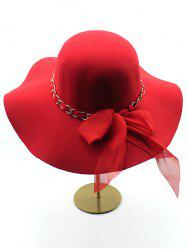 Bowknot Floppy Wool Fedora Hat - RED