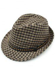 Houndstooth Keep Warm Wool Belt Buckle Rivets Jazz Hat -