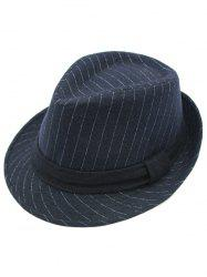 Pure Color Striped Belt Wool Fedora Hat - DEEP BLUE