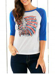 Raglan Sleeves Indian Print T-Shirt -