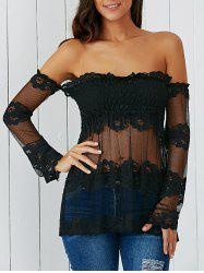 See Through Off The Shoulder Mesh Blouse -