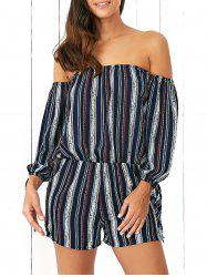 Off-The-Shoulder Tied Sleeves Striped Romper -