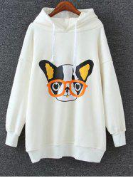 Animal Print Drop Shoulder Long Hoodie - WHITE