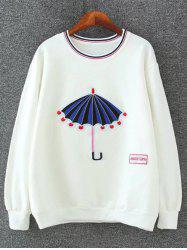 Drop Shoulder Embrioidered Sweatshirt - WHITE