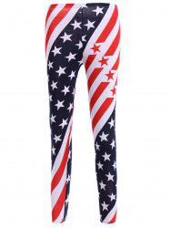 High Waisted Stars and Stripes American Flag Leggings - WHITE