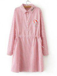 Long Sleeve Striped Drawstring Shirt Dress