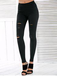 High Waisted Ripped Leggings - BLACK L