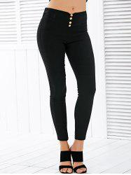 Button Deign High Waisted Leggings - BLACK