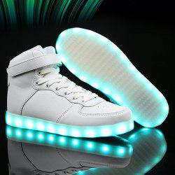 Led Luminous Lights Up Tie Up Casual Shoes - WHITE