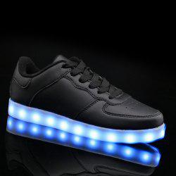 PU Leather Lights Up Led Luminous Casual Shoes - BLACK