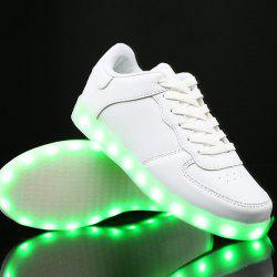 PU Leather Lights Up Led Luminous Casual Shoes - WHITE