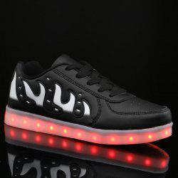 Lights Up Led Luminous Color Block Casual Shoes - BLACK